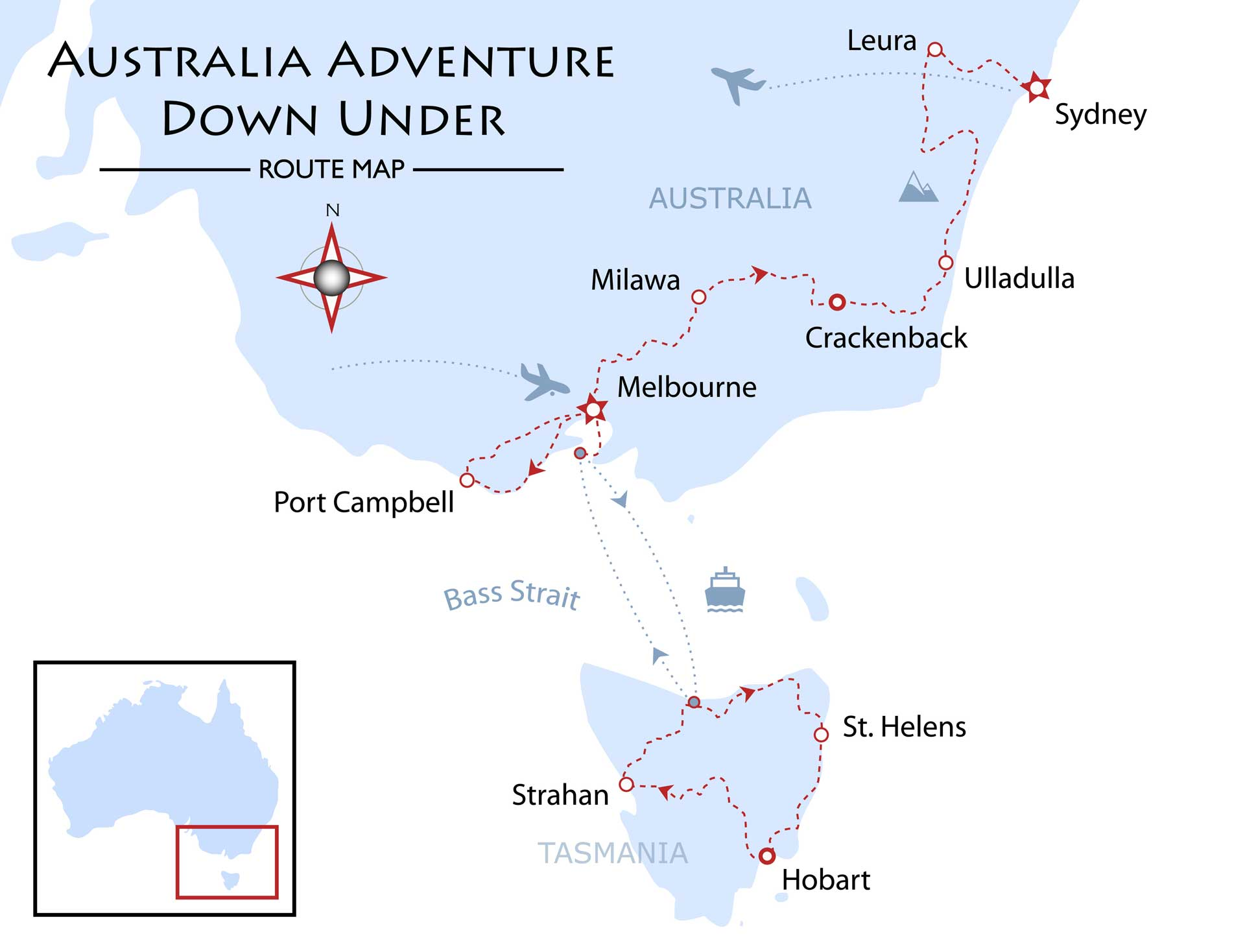 Australia and Tasmania - Adventure Down Under Map