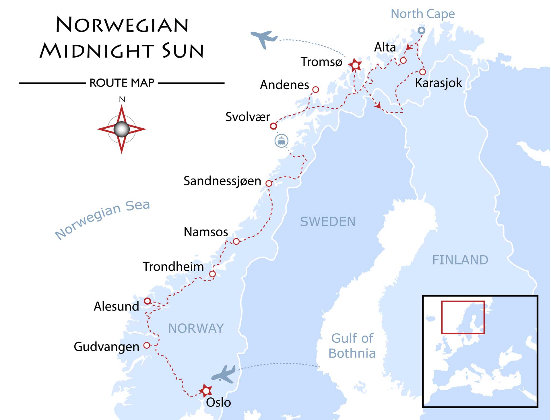 Norwegian Midnight Sun Map