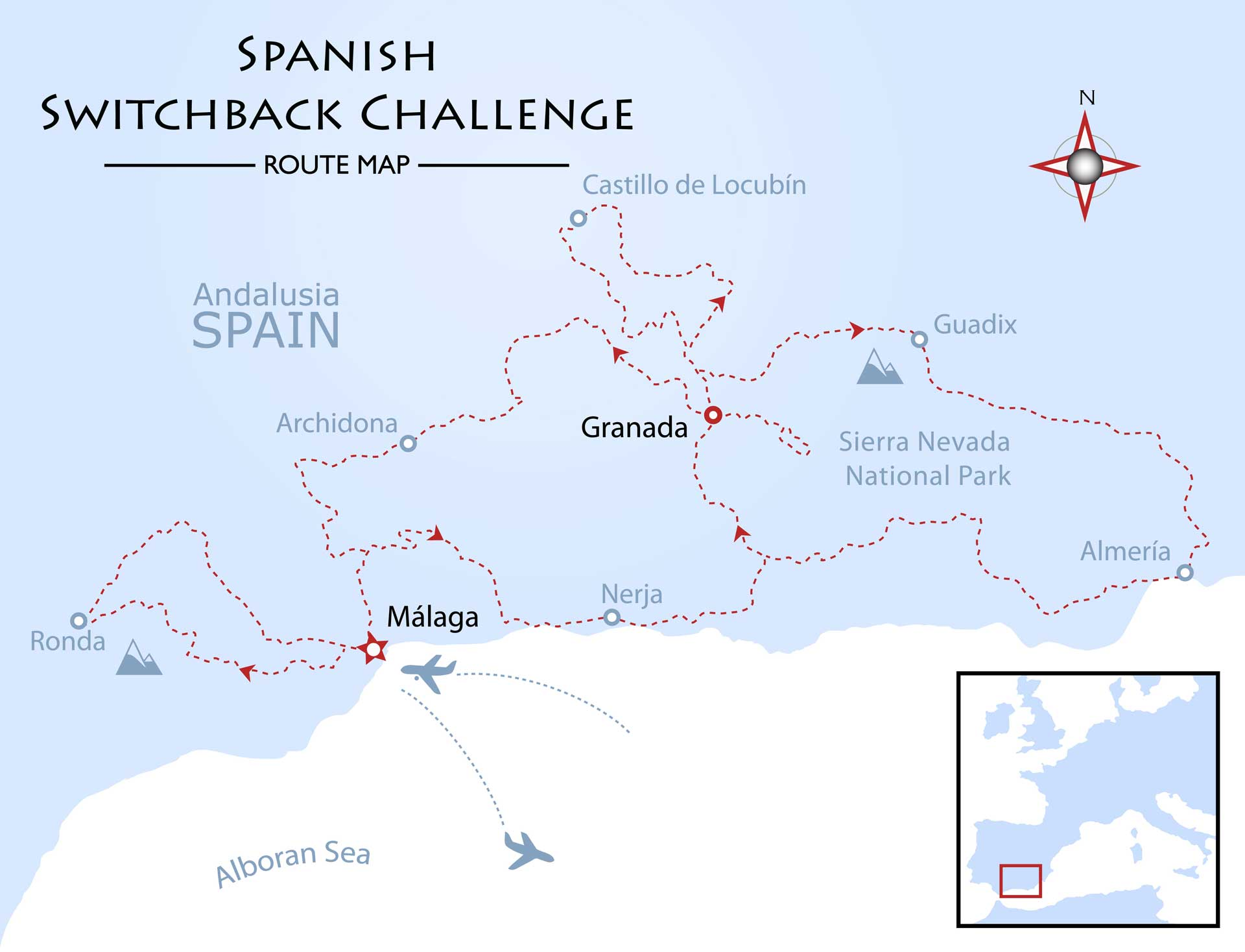 Spanish Switchback Challenge Map