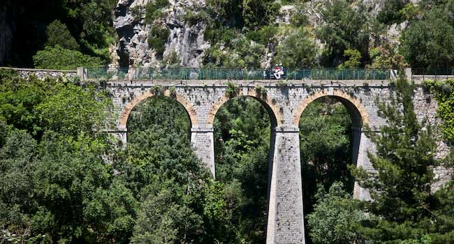 Crossing an Old Bridge in Greece
