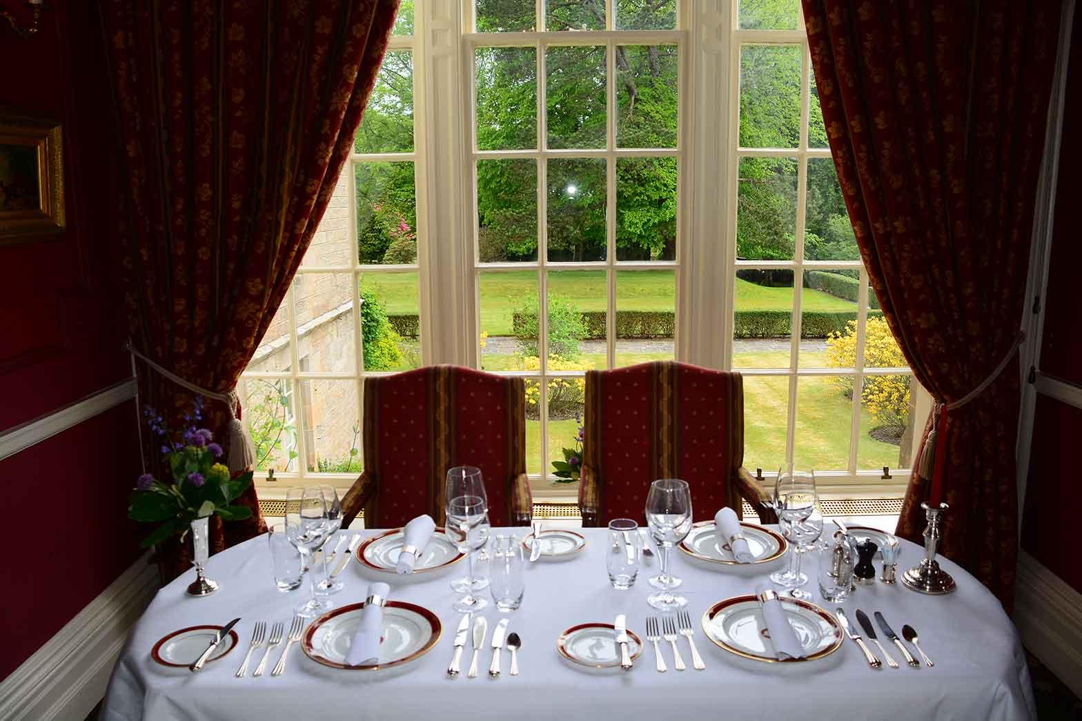 Dinner setting at Ballantrae Castle
