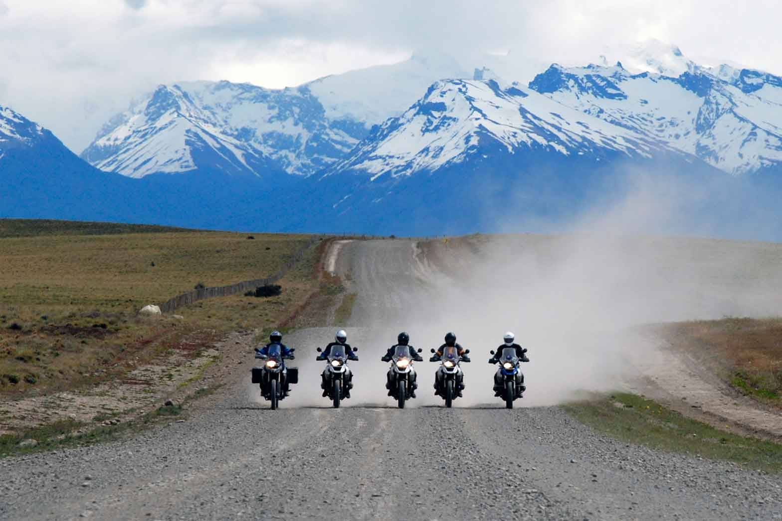 Five riders entering Patagonia