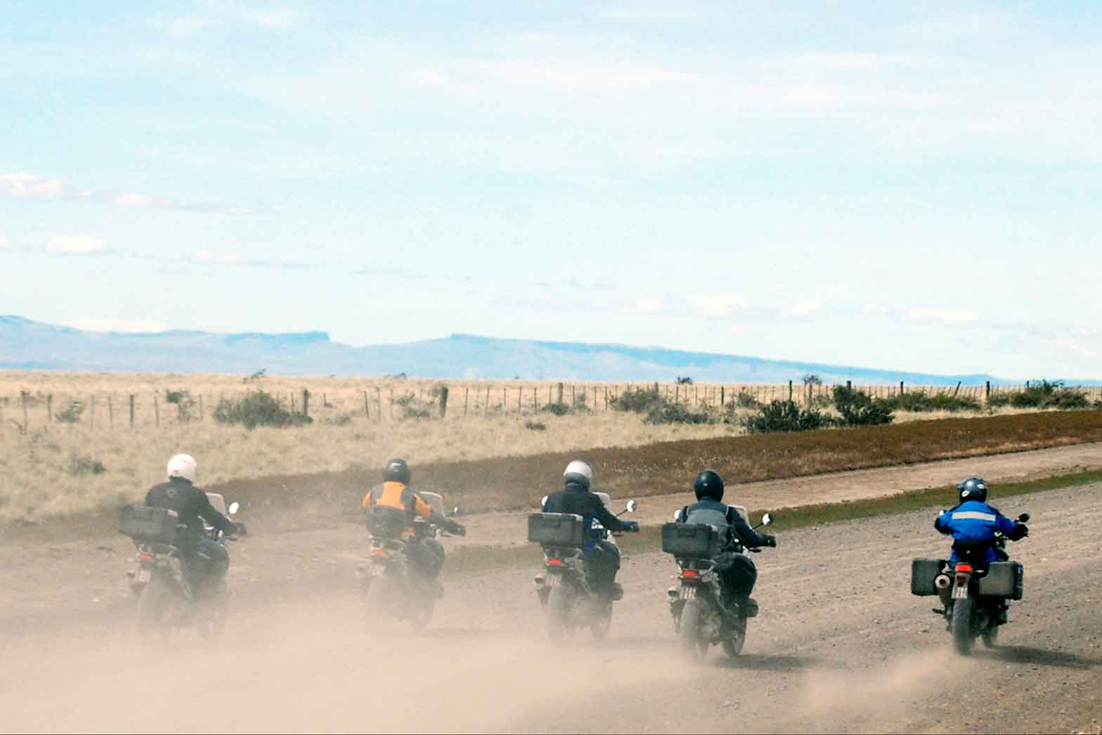 Five riders leaving Patagonia