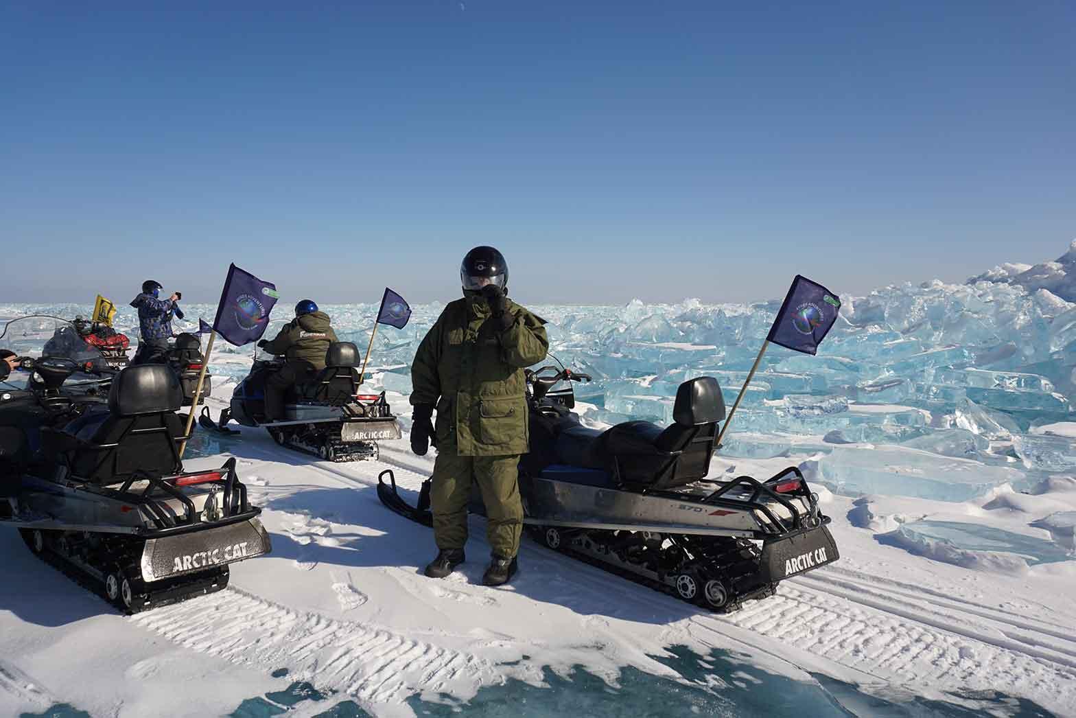 In front of Lake Baikal glacier