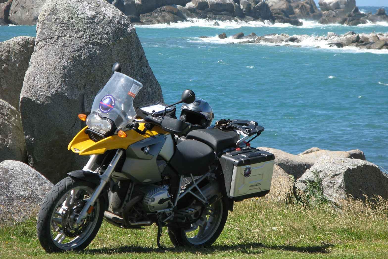 New Zealand bike beach scene