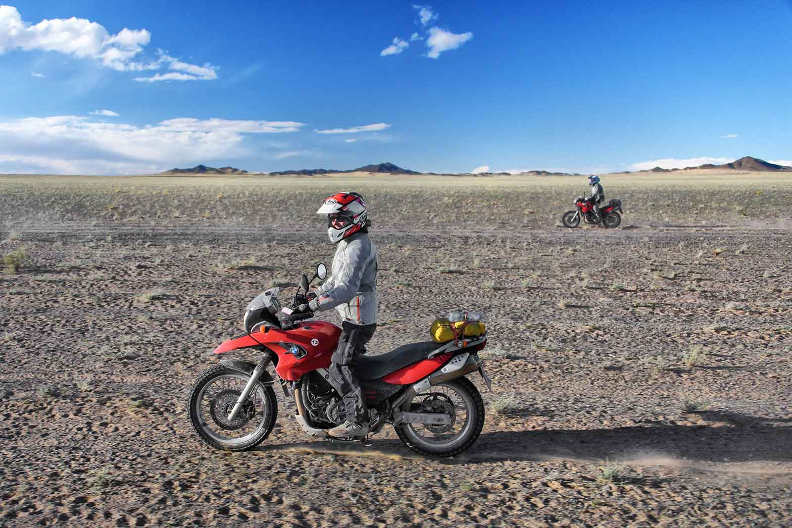 Riding in the semi-desert of northern Mongolia.