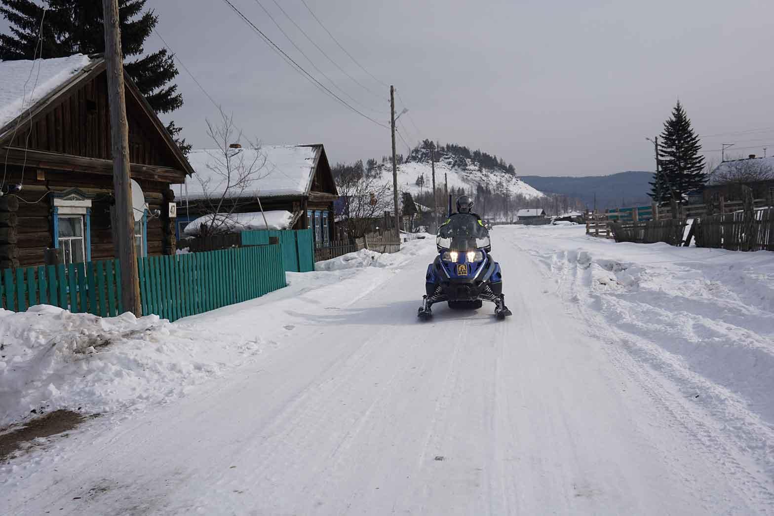 Riding through the village