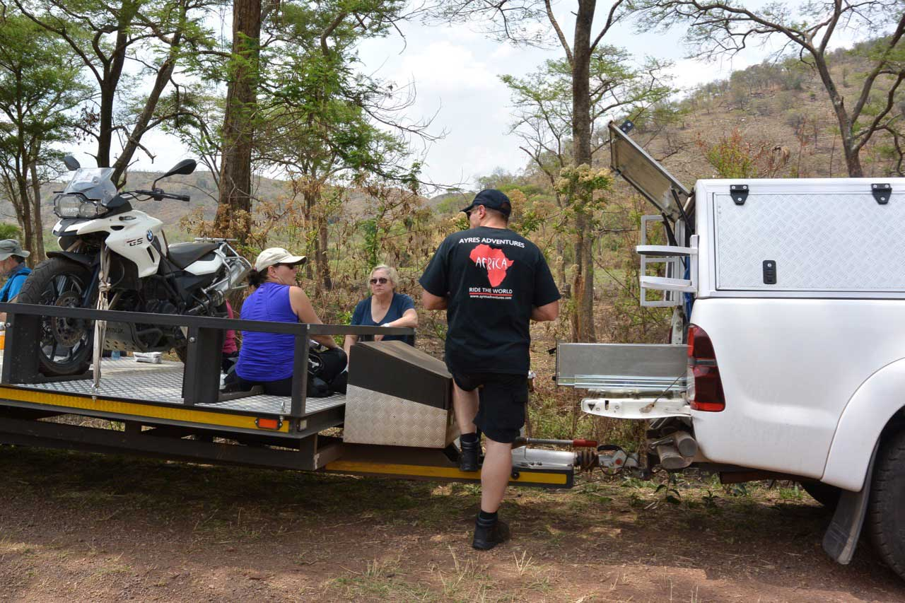 Heart of Africa, Day 8 and 9, Lunch stop on the road, Rwanda, Motorcycle Tour by Ayres Adventures
