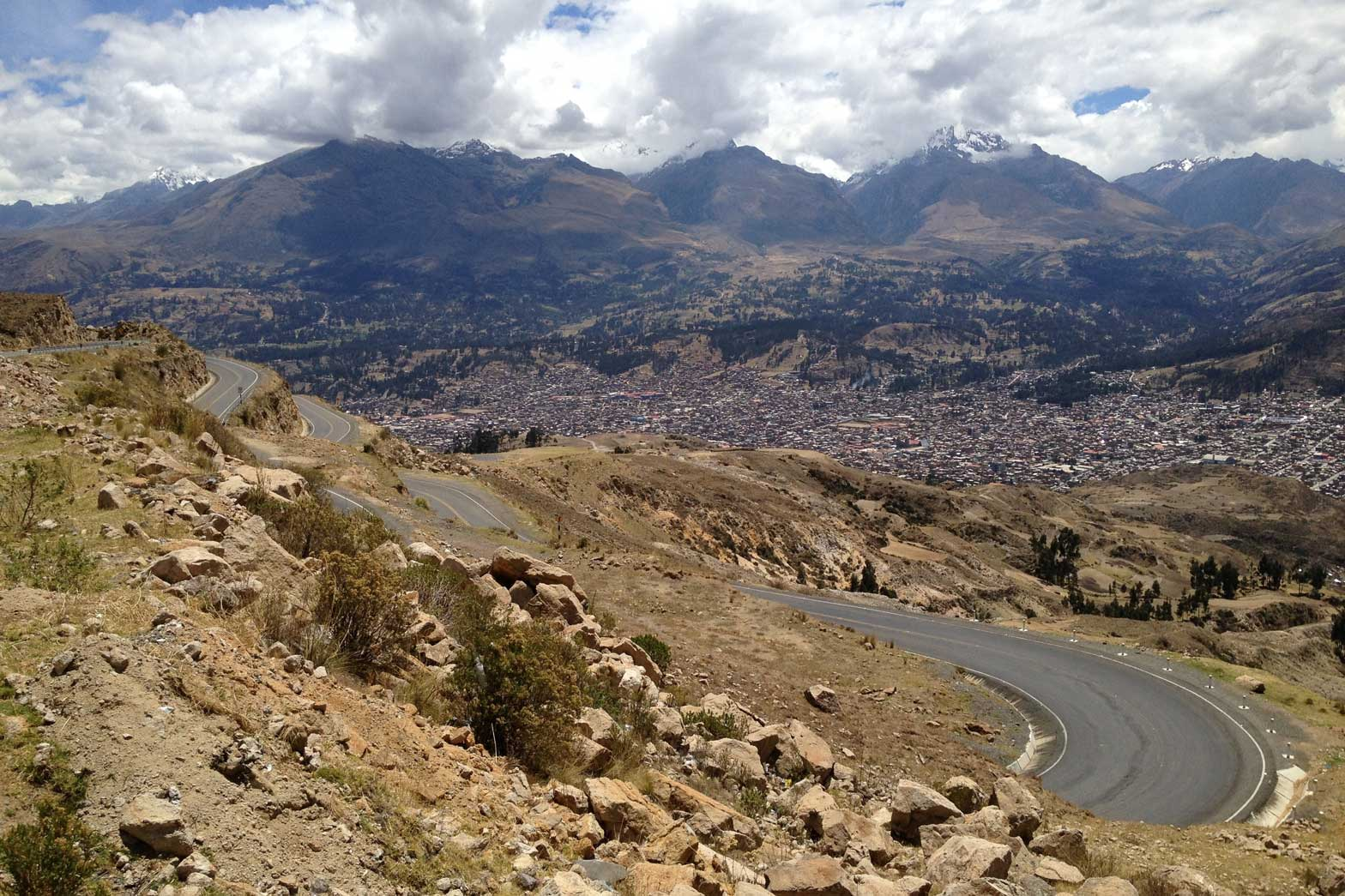 Scenic view of Huaraz in the mountains, Peru
