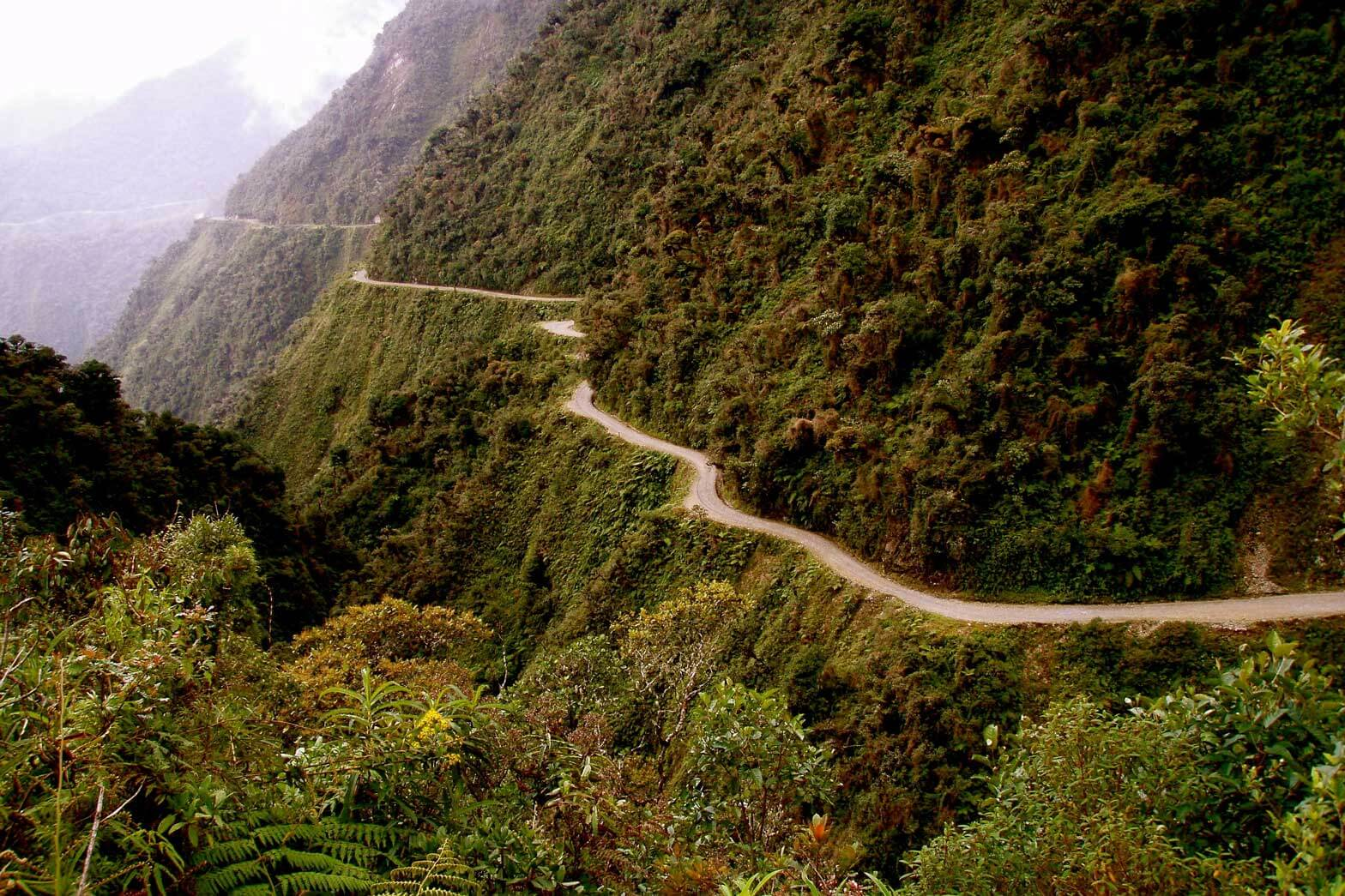 The North Yungas Road, also known as Road of death, Bolivia