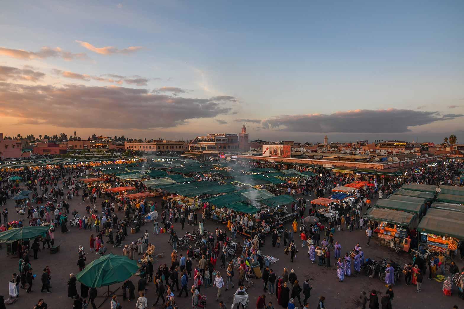Sunset over the night market, Marrakesh