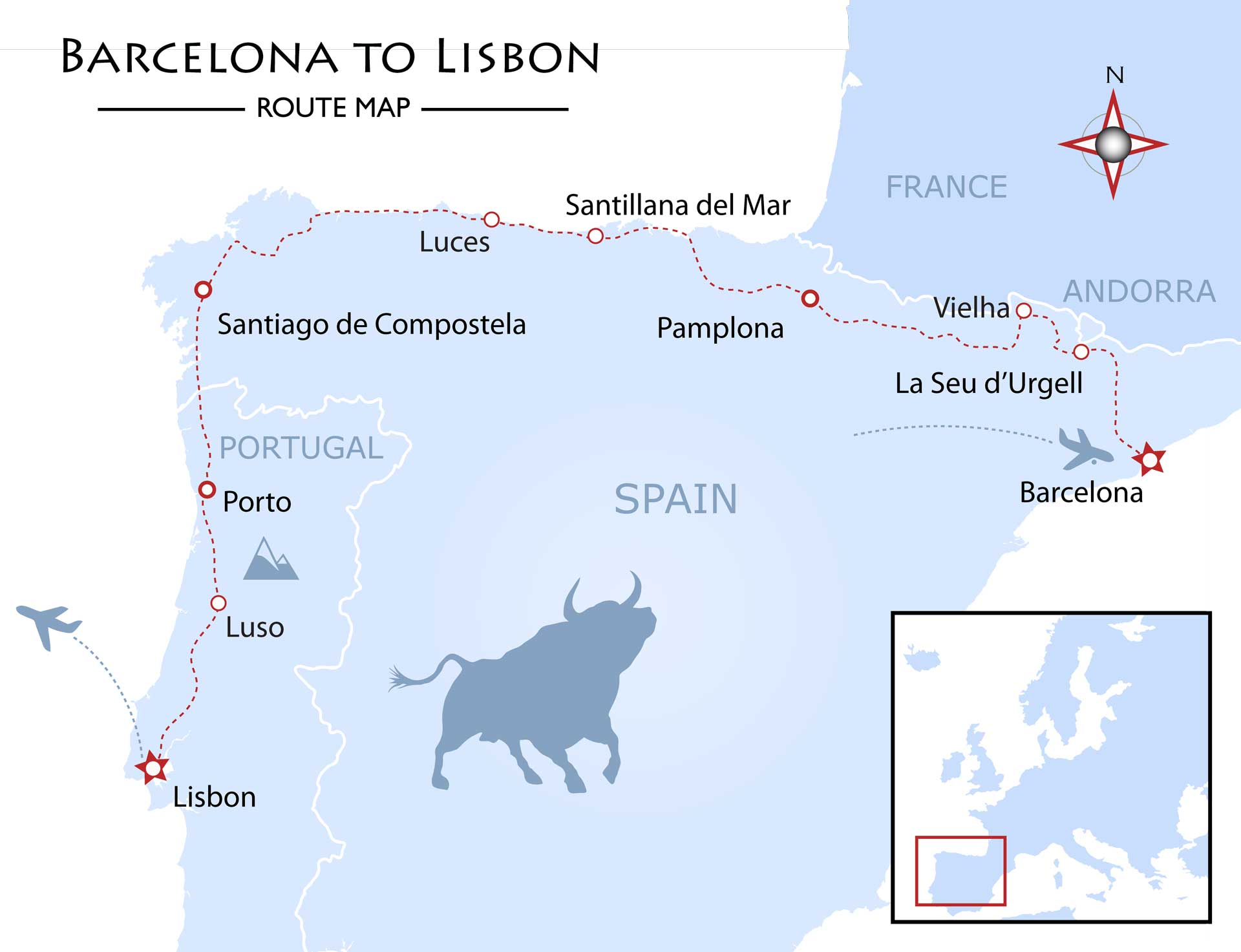 Barcelona to Lisbon Map