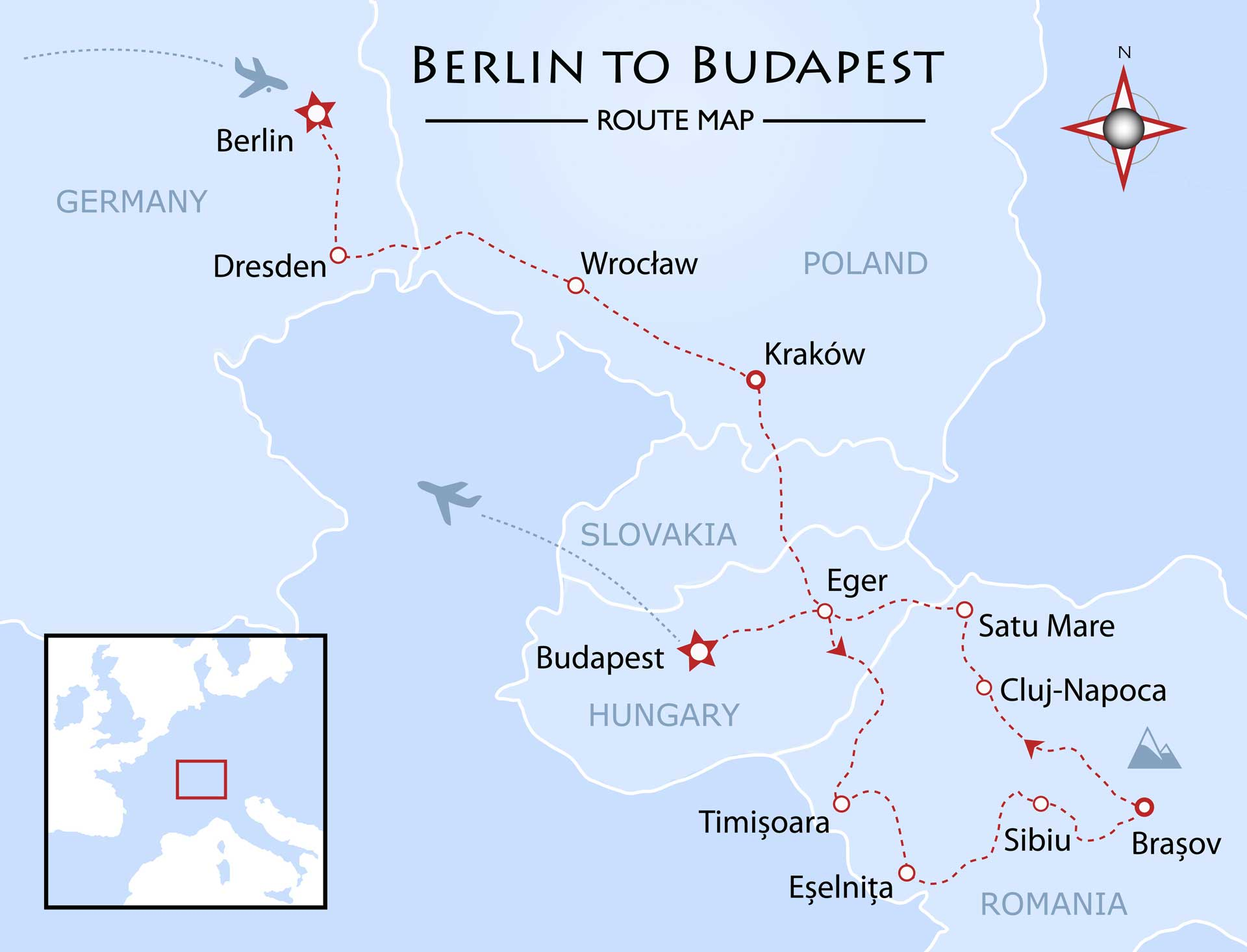 Berlin to Budapest Map