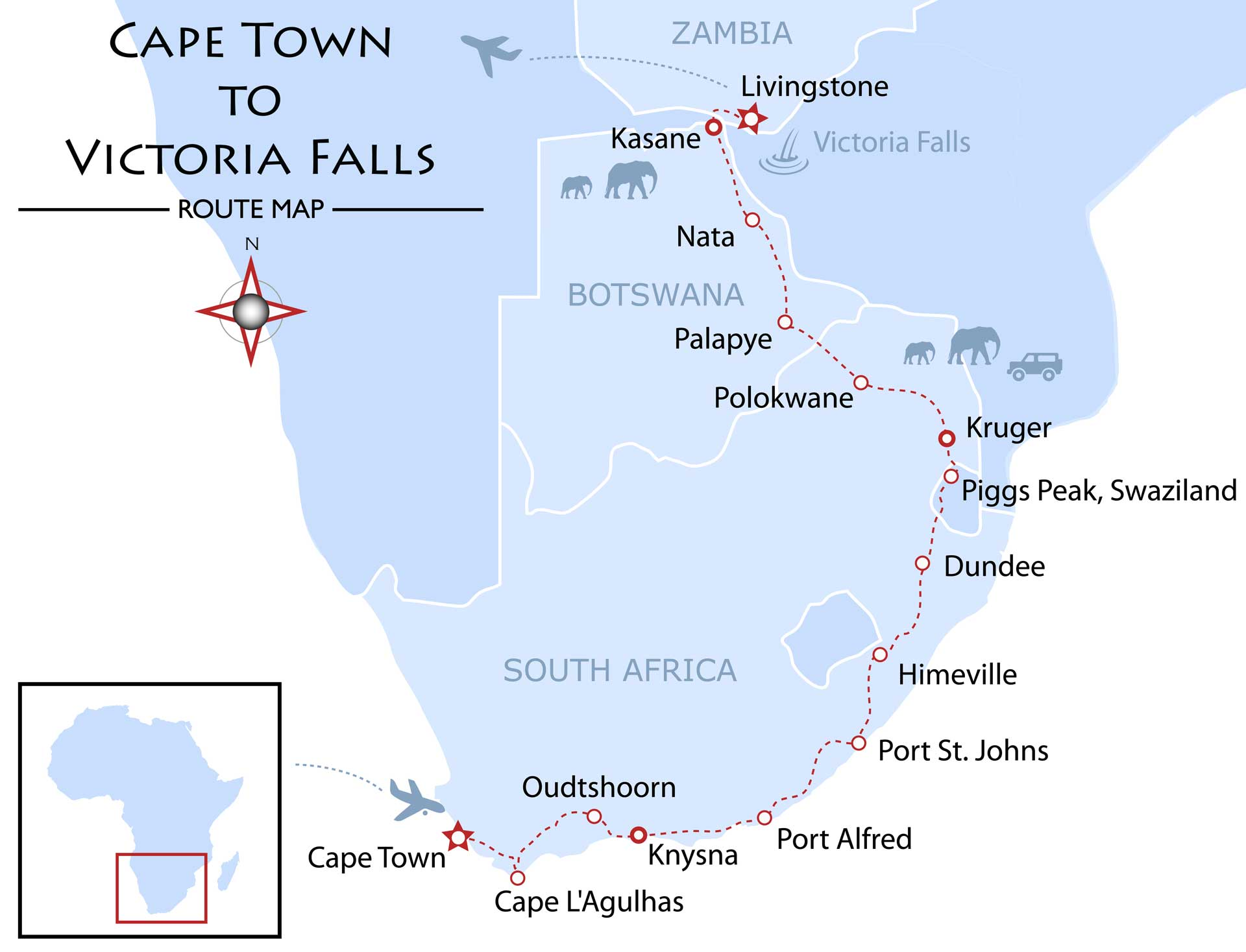 Cape Town to Victoria Falls Map