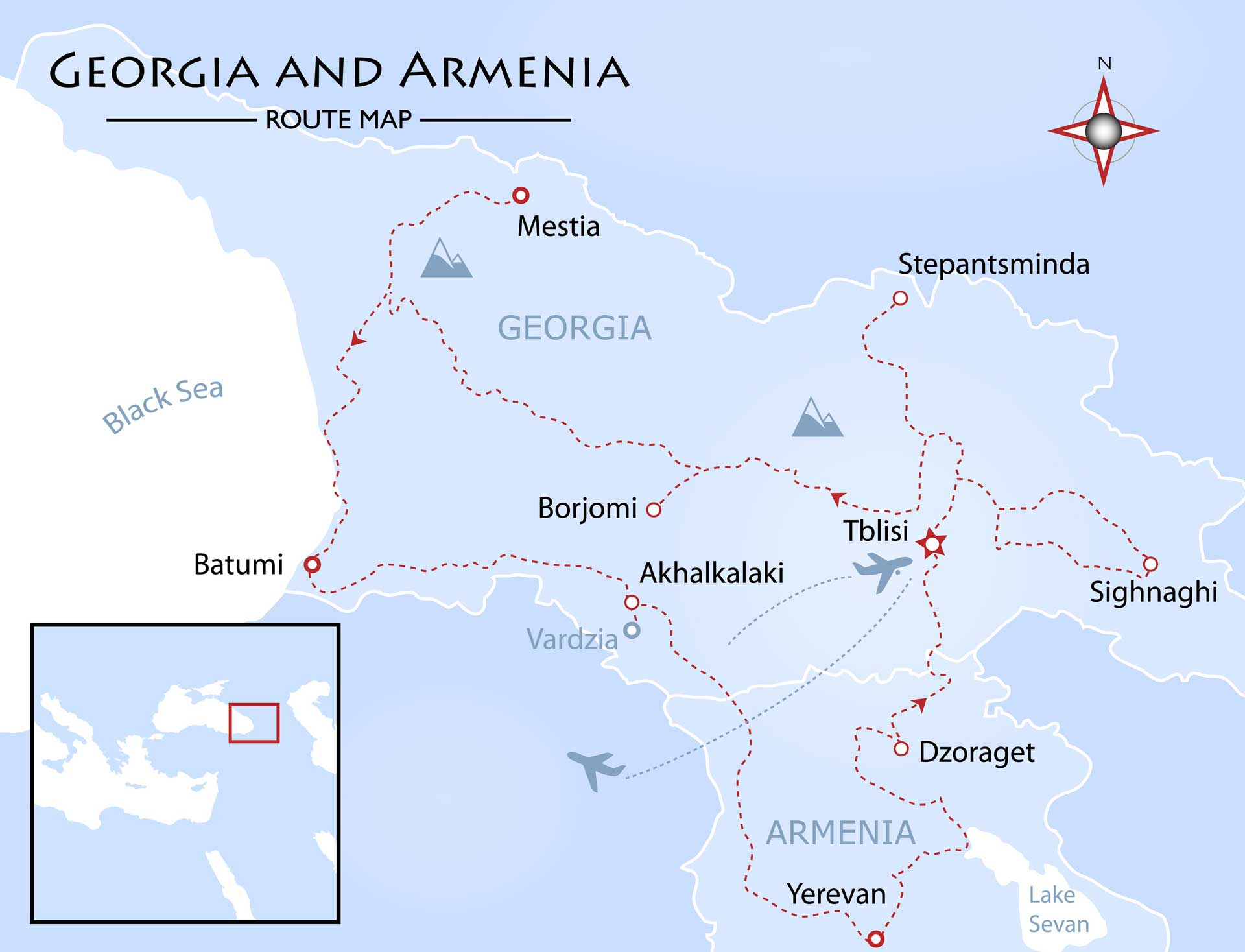 Georgia and Armenia Map