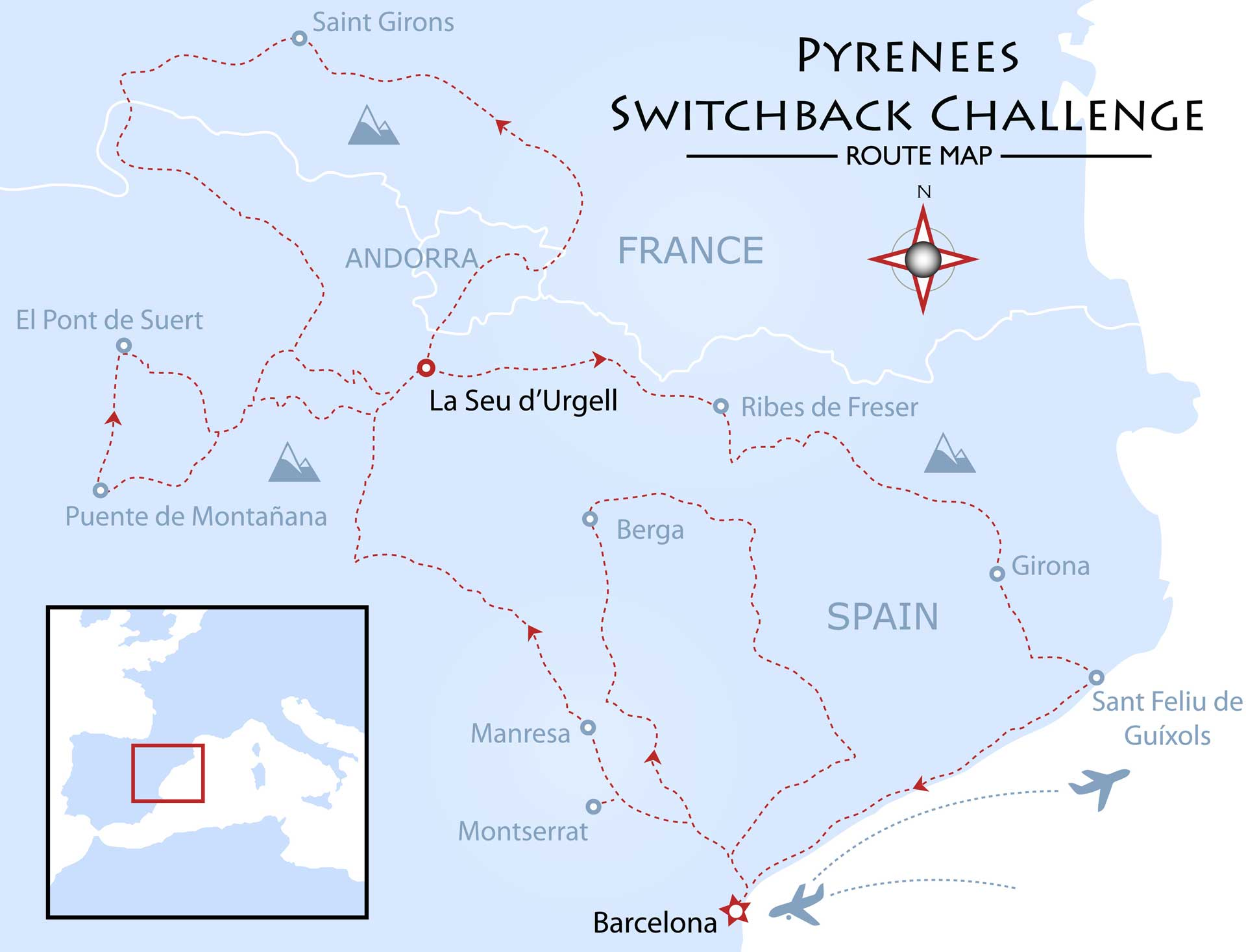Pyrenees Switchback Challenge Map