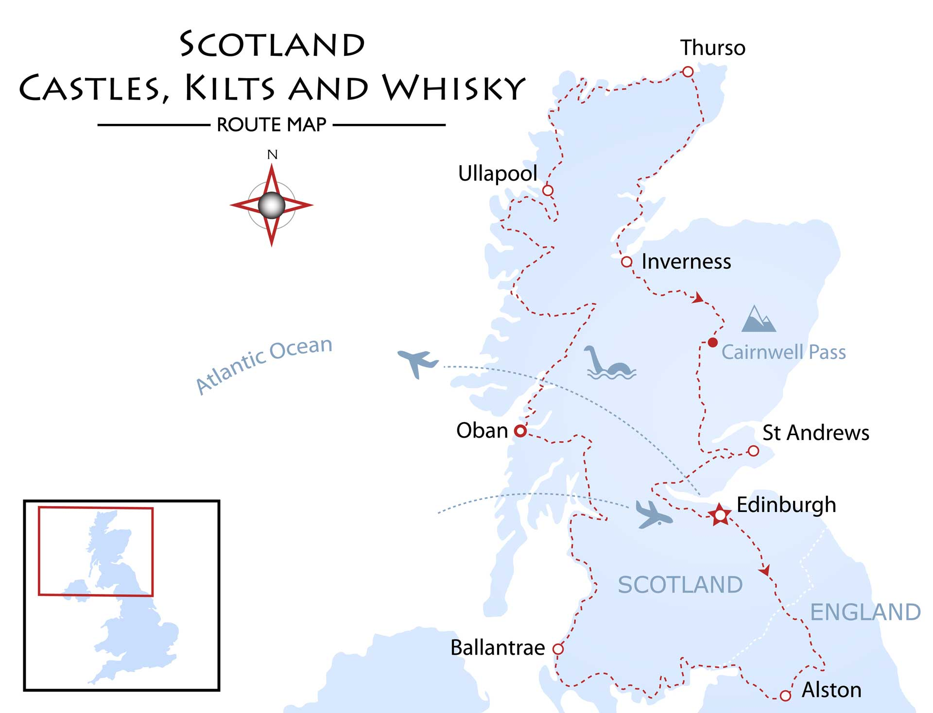 Scotland - Castles, Kilts and Whisky Tour Map