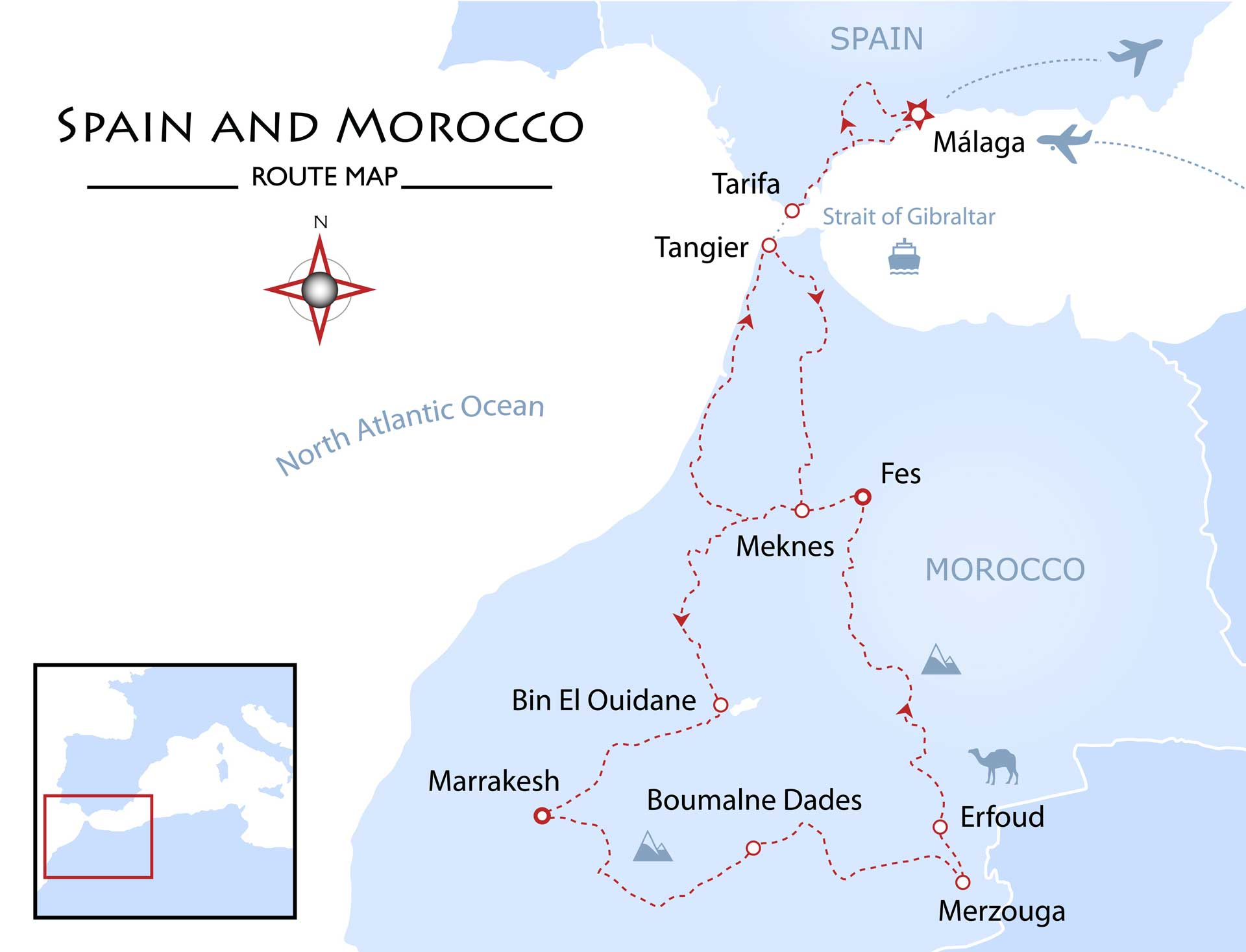 Spain and Morocco Map