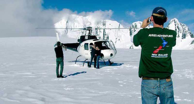 Landing on Fox Glacier